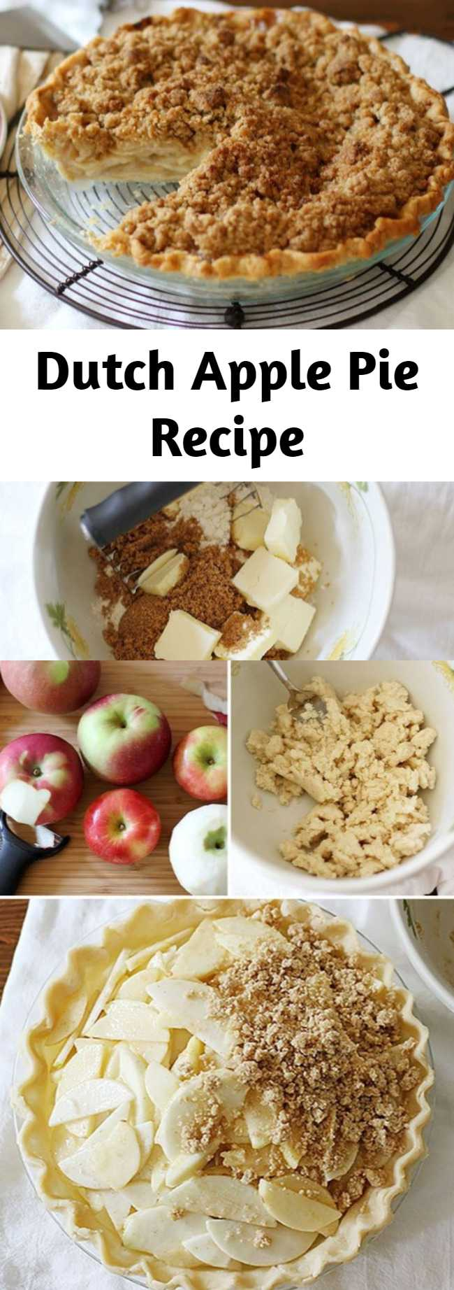 The difference between classic apple pie and Dutch apple pie is all in the delicious crumb topping. Instead of a pie-crust, Dutch apple pie features a generous blanket of sweet streusel crumbs made with a simple mixture of sugar, butter and flour–sprinkled over a tender spiced apple filling and what you get is a humble apple pie elevated to a new level of delicious. Planning ahead for Thanksgiving? This pie will keep frozen, wrapped in plastic wrap and then again in foil, for up to 3 months.