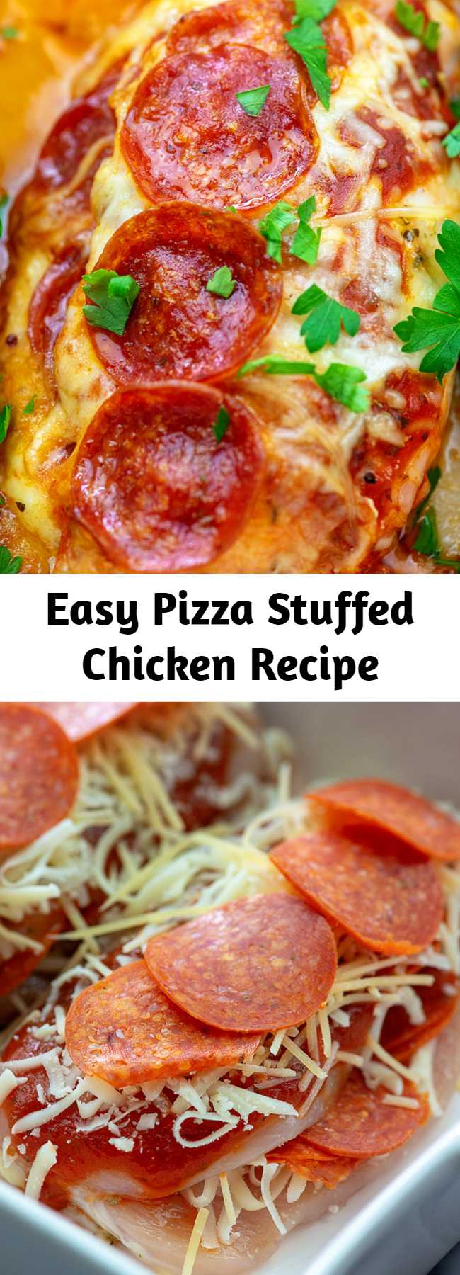 Easy Pizza Stuffed Chicken Recipe - If you're craving pizza, this stuffed chicken recipe will do the trick nicely! We use pepperoni since that's what we love on our pizza, but feel free to add a few of your favorite toppings! This quickly became one of the most requested recipes by my kids and I love it because it's low carb and super easy prep. #chicken #lowcarb #keto #pizza