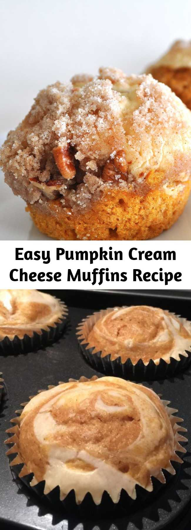 Easy Pumpkin Cream Cheese Muffins Recipe - These muffins are the best! They are moist and very delicious. Not only taste great but looking so good as well! You'll be glad you made this recipe for pumpkin muffins with a cream cheese filling and a streusel topping. #breakfastrecipes #brunchrecipes #breakfastideas #brunchideas #muffins #muffinrecipes #baking #bakingrecipes