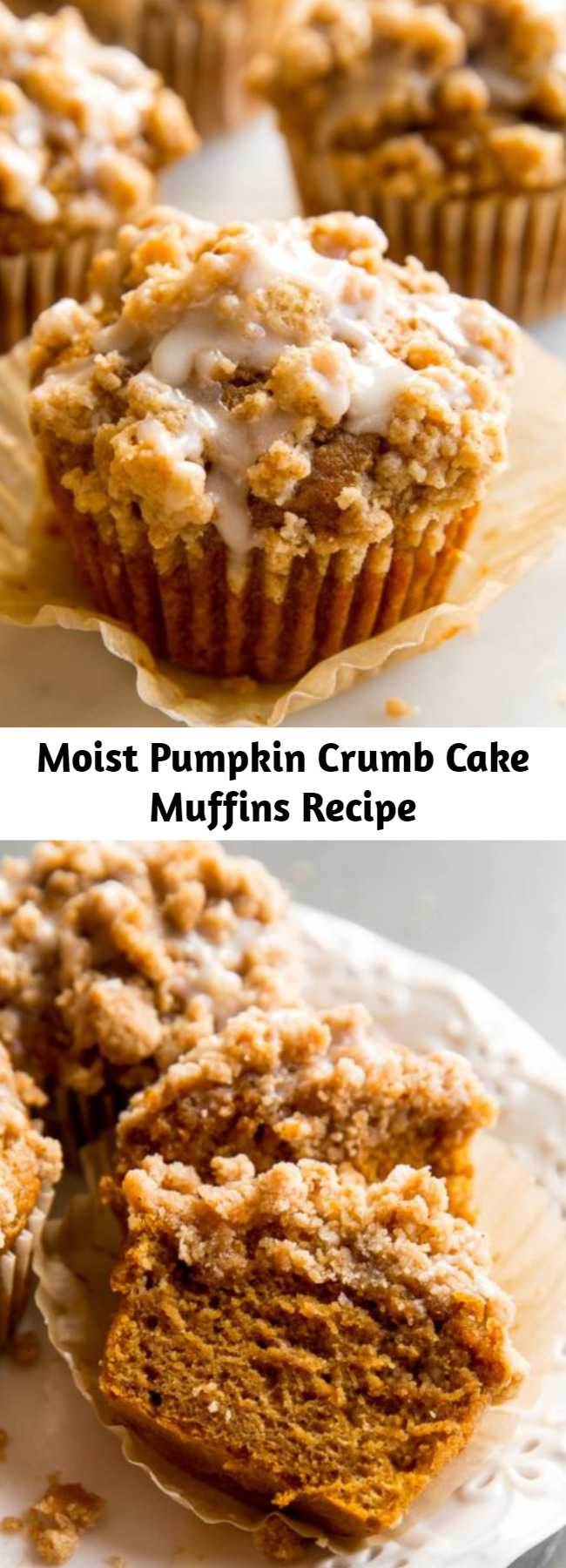 Moist Pumpkin Crumb Cake Muffins Recipe - These super soft pumpkin crumb cake muffins are topped with pumpkin spice crumbs and finished with sweet maple icing. They're a reader favorite and after baking one batch, you'll understand why!