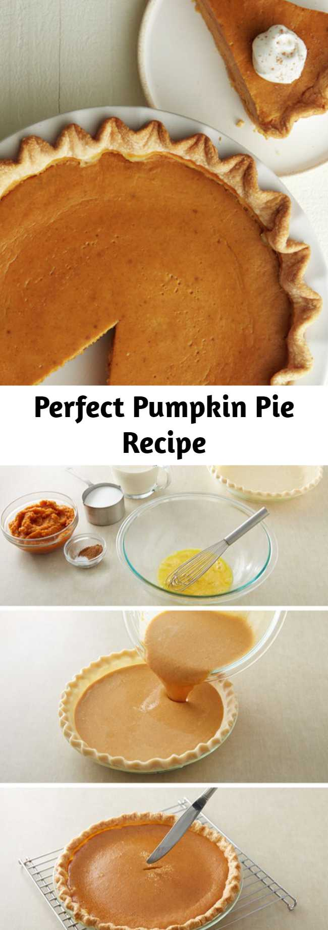 Perfect Pumpkin Pie Recipe - Pie? Easy? Yes and yes! Our refrigerated pie crust makes pie-making easier than ever. This recipe takes the worry out of pie-making and has step-by-step instructions. The end result will wow all your guests this holiday season! Save this pumpkin pie recipe to make for fall, Thanksgiving or Christmas this year!