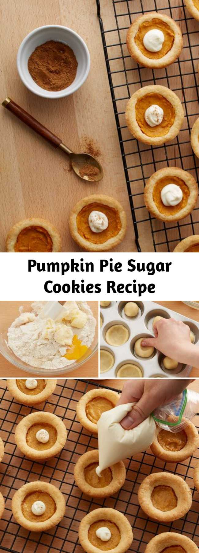Pumpkin Pie Sugar Cookies Recipe - These too-cute pumpkin pie-inspired sugar cookies are the perfect treat for fall or your Thanksgiving spread. With their sugar cookie crusts and pumpkin pie filling, these petite sweets are perfect for pleasing kiddos, diversifying the dessert spread and cutting down on the labor-intensive pie-making process.