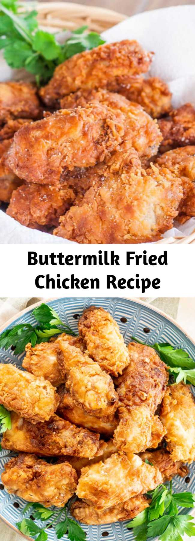 Buttermilk Fried Chicken Recipe - This is the BEST EVER Buttermilk Fried Chicken! Super juicy and tender on the inside yet crispy on the outside and bursting with flavor! Perfect for lunch or dinner and served with a side salad.