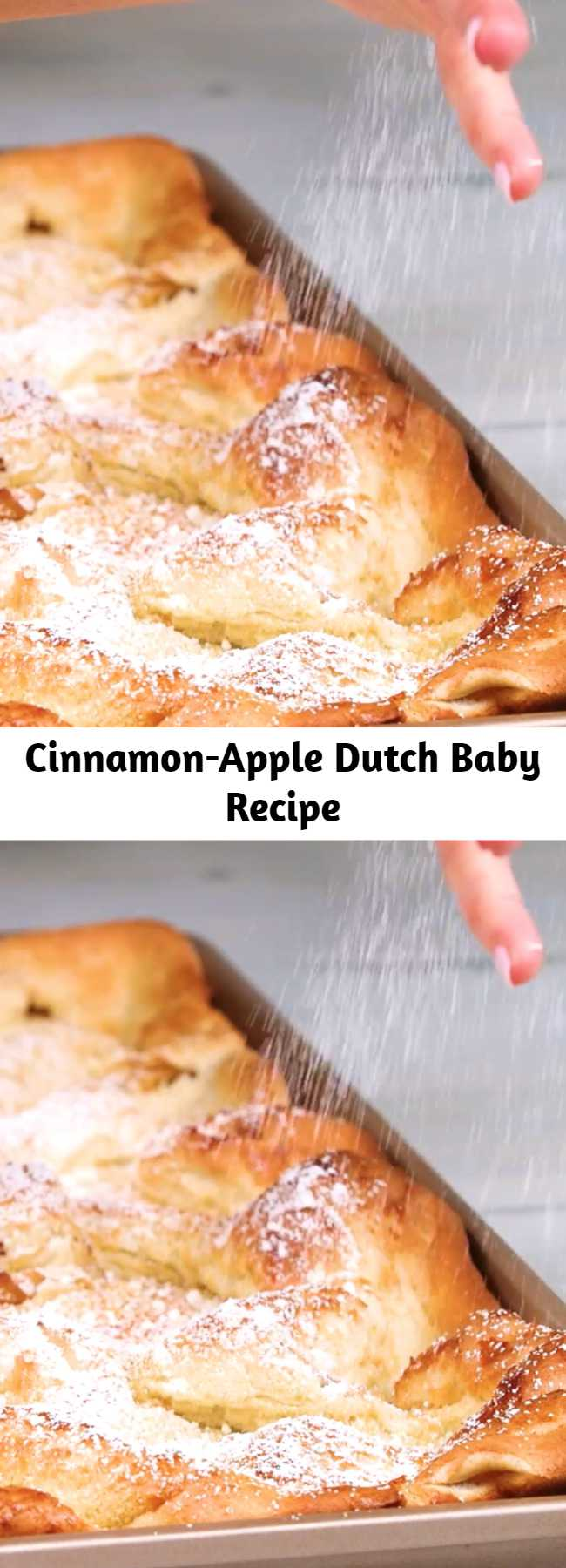 Cinnamon-Apple Dutch Baby Recipe - This sheet pan Dutch baby is a perfect dish to whip up for a group brunch, but can easily be transformed into dessert when served with a scoop of vanilla ice cream.
