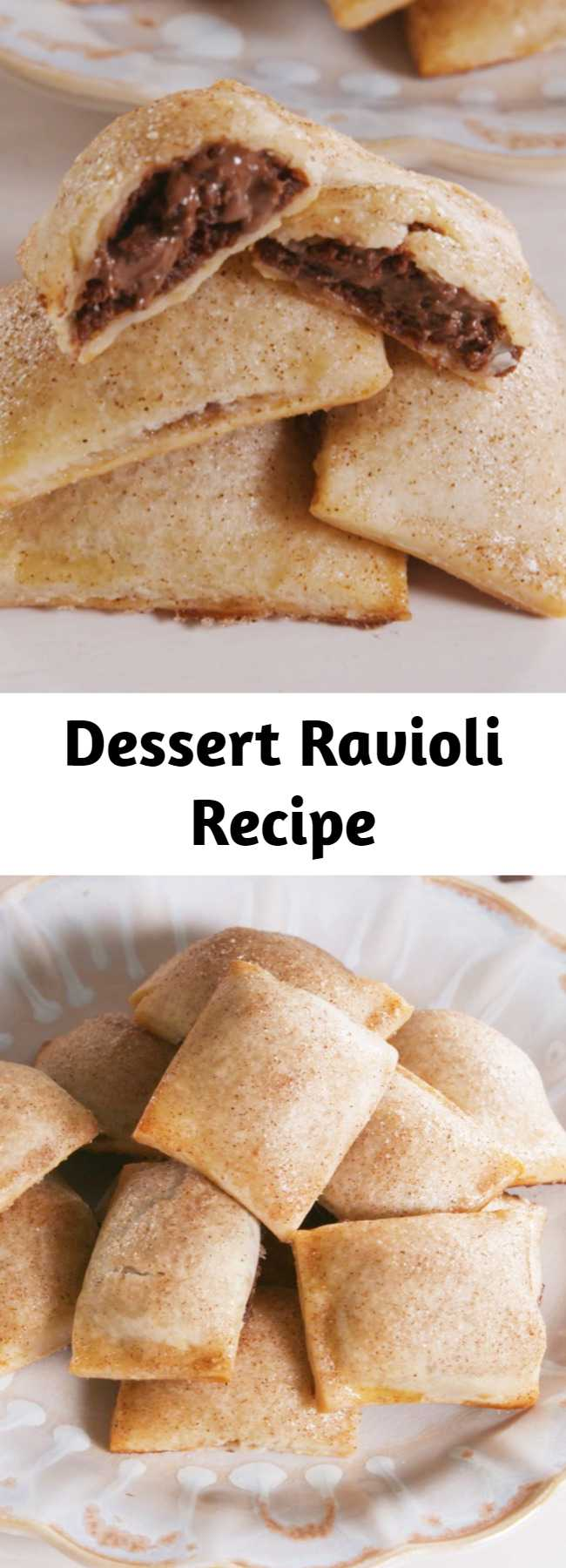 """Dessert Ravioli Recipe - How genius is this method?! You can fill these """"ravioli"""" with all sorts of things, from fruit fillings to peanut butter and chocolate. We chose Nutella because we're obsessed with it. This Dessert Ravioli is the BEST thing to do with Nutella. #icecubetrayhacks #piedough #creamcheese #nutella #nutelladesserts #minidesserts"""