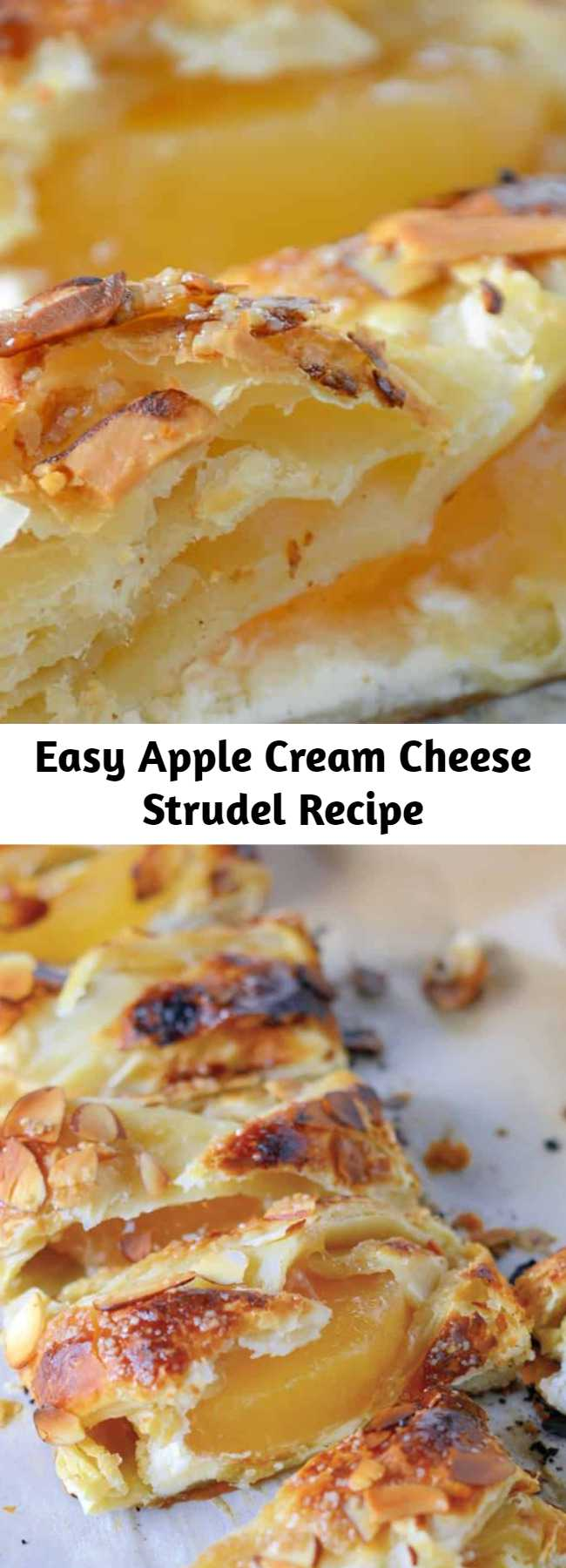 Easy Apple Cream Cheese Strudel Recipe - Pastry isn't as challenging as you might think! My Easy Apple Cream Cheese Strudel uses only 6 ingredients and 10 minutes to prepare for a fancy-pants breakfast or dessert! #applestrudel #easystrudelrecipe
