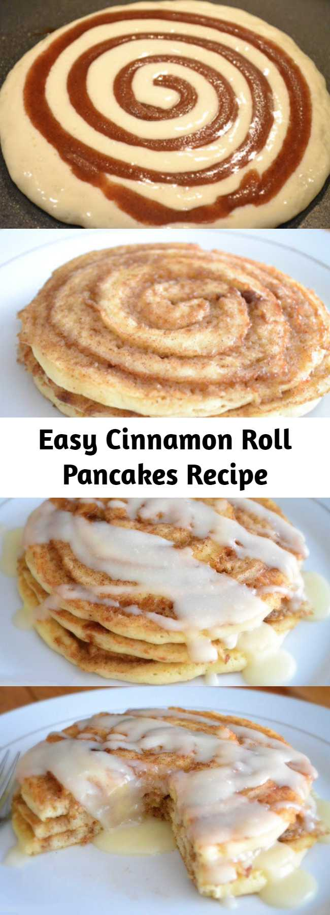 Easy Cinnamon Roll Pancakes Recipe - These Cinnamon Roll Pancakes will be the star of the show at breakfast time! Swirls of cinnamon through out and topped with cream cheese glaze!
