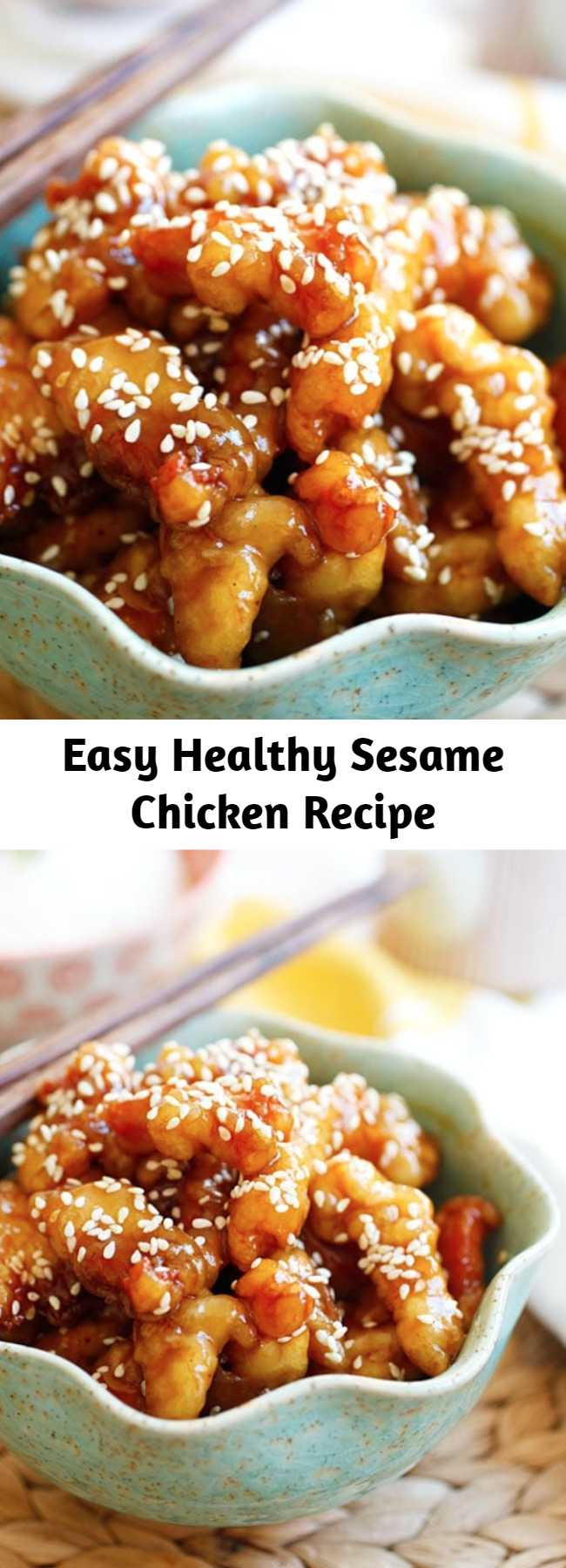 Easy Healthy Sesame Chicken Recipe - This is the best Sesame Chicken recipe with crispy chicken in sweet and savory sesame chicken sauce. It tastes just like Chinese restaurants and takes only 20 mins to make. Serve the chicken with steamed rice for an authentic homemade Chinese meal. #chinesefood #chicken