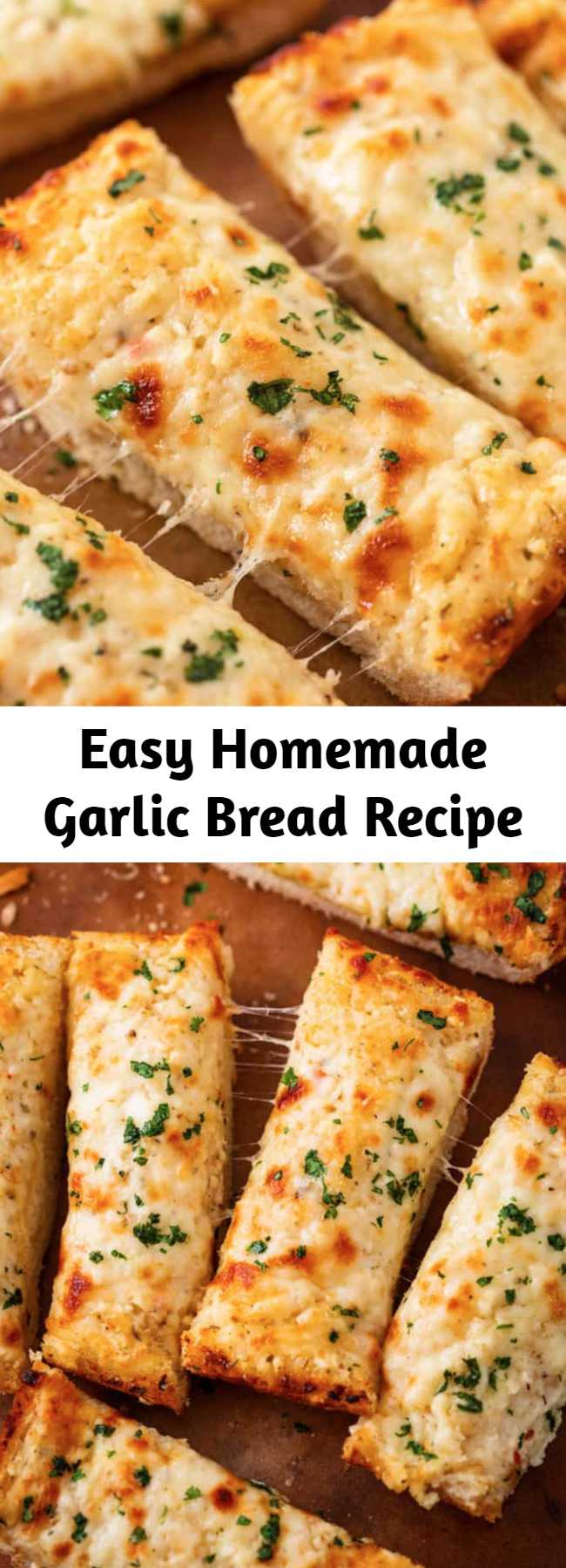 Easy Homemade Garlic Bread Recipe - This easy homemade garlic bread is loaded with two kinds of cheese and has secret ingredients that put it above the other garlic bread recipes out there! #recipe #sidedishidea #italianfood #sidedish #comfortfood #sides #breadsticks