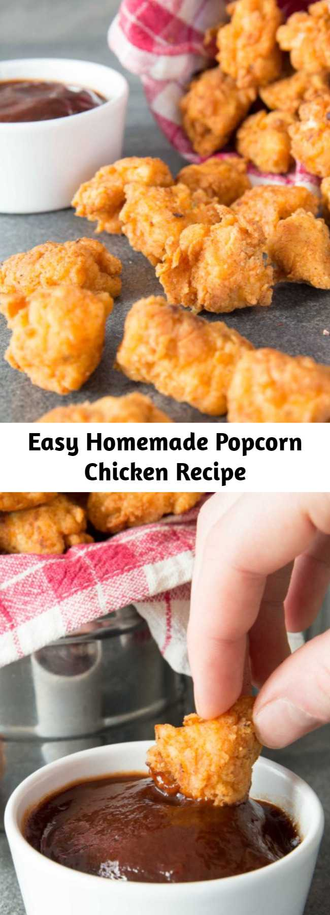 Easy Homemade Popcorn Chicken Recipe - Homemade Popcorn Chicken couldn't be easier to make! The key is marinating in buttermilk for that crispy, flaky finish. But warning, these are incredibly moreish!! #popcornchicken #chicken #kfc #gameday #snack #appetizers