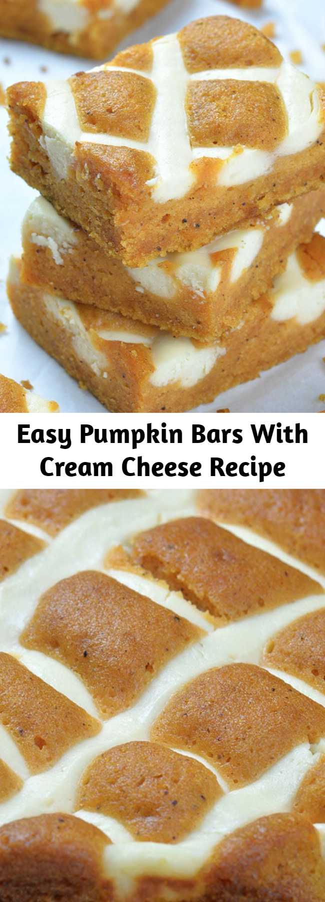 Easy Pumpkin Bars With Cream Cheese Recipe - Pumpkin Bars with Cream Cheese is simple and easy dessert recipe for fall baking season. Moist and spicy pumpkin bars are delicious breakfast or snack. But this crowd-pleasing treat is fancy enough to be served as a dessert at Halloween party or as light and easy dessert after Thanksgiving dinner.