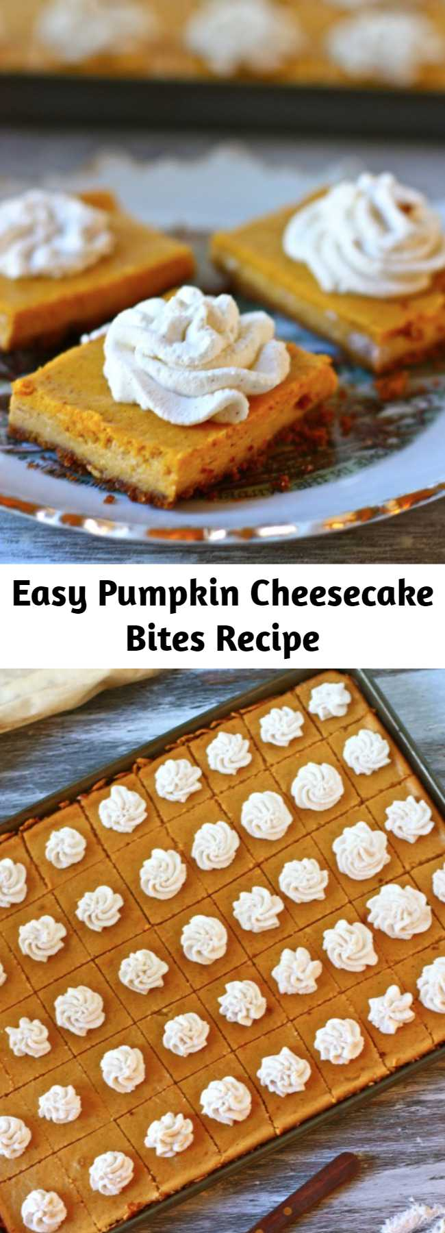 Easy Pumpkin Cheesecake Bites Recipe - These pumpkin cheesecake bites are for all the non-pumpkin pie lovers in the world…along with everyone else. They're great to make to feed a crowd, but also great as something small and sweet after any ol' dinner. Just a warning: they are highly addictive.