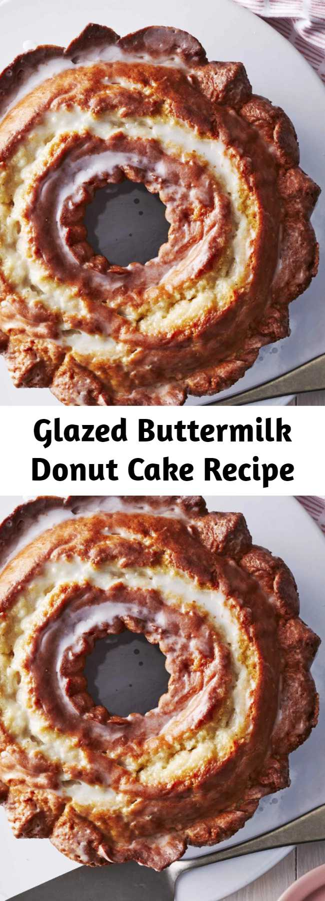"""Glazed Buttermilk Donut Cake Recipe - This oversized """"donut"""" is sure to be a hit. Although this dessert looks straight from the donut shop, the recipe itself is a moist and tender pound cake with added leavening, which gives the cake the cracked and craggy appearance of an old-fashioned donut. This delicious dessert idea is perfect for a bored-baking marathon. #recipes #recipeideas #dessert #dessertrecipes"""