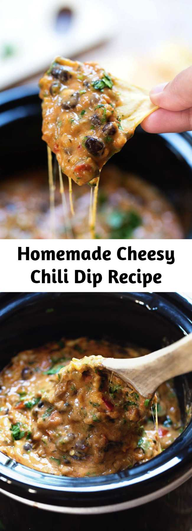 Homemade Cheesy Chili Dip Recipe - This Homemade Cheesy Chili Dip is made without the processed cheese! Just homemade spicy chili and creamy cheese sauce. Deeeelish!