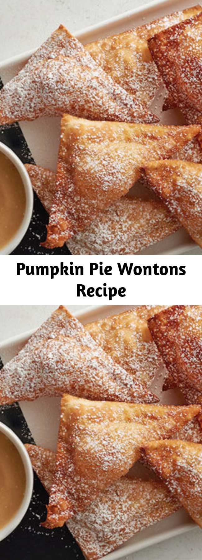 Pumpkin Pie Wontons Recipe - Magical pumpkin pie-flavored deep-fried goodness with a creamy maple dip on the side.