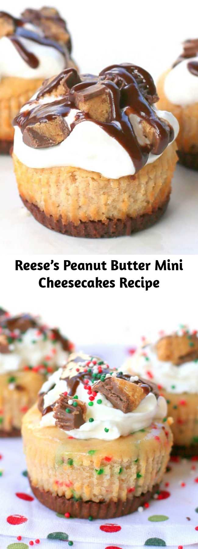 Reese's Peanut Butter Mini Cheesecakes Recipe - These Reese's Peanut Butter Mini Cheesecakes are so easy! The crust is made from a full size Reese's peanut butter cup.