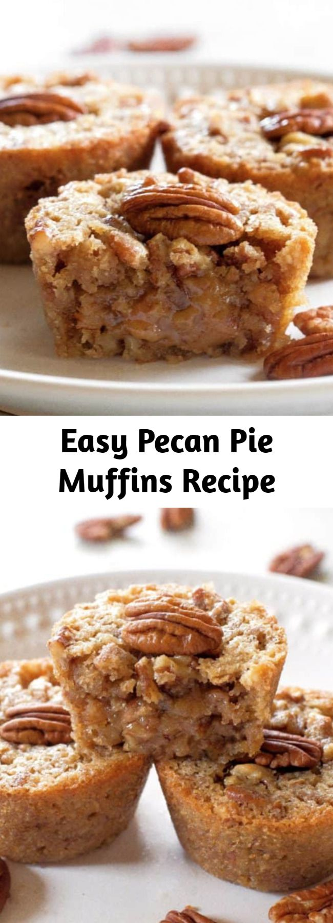 Easy Pecan Pie Muffins Recipe - These Pecan Pie Muffins are a mix between a pie and a muffin. They have a muffin texture with a soft gooey inside like a mini Southern pecan pie. This recipe is one of the highest used recipes during the fall especially for Thanksgiving!