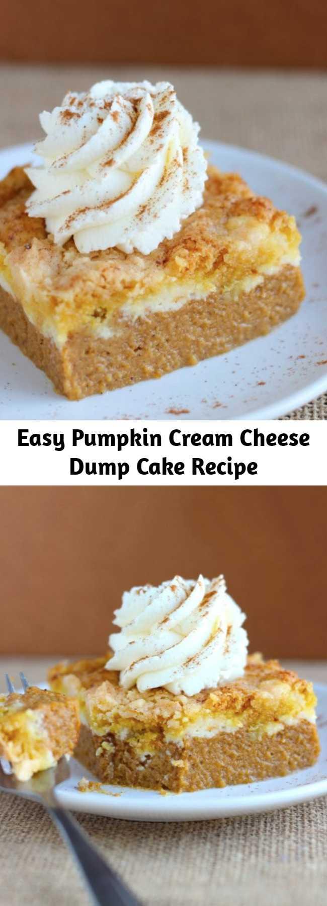 Easy Pumpkin Cream Cheese Dump Cake Recipe - BETTER and way easier than pumpkin pie! This Pumpkin Cream Cheese Dump Cake is the best way to serve pumpkin pie to a crowd!