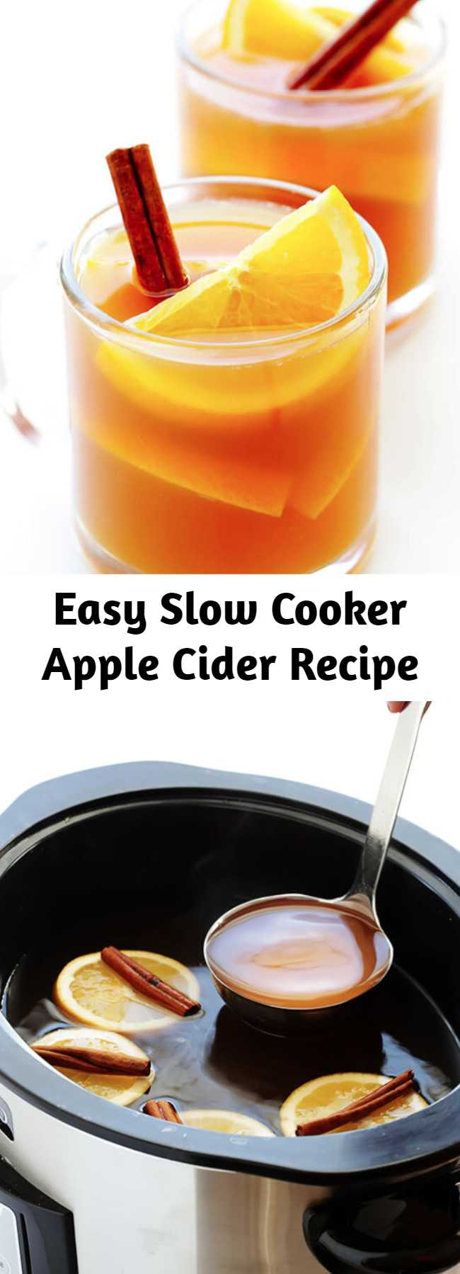 Easy Slow Cooker Apple Cider Recipe - This Slow Cooker Apple Cider recipe is easy to make from scratch, and full of the best sweet cinnamon apple flavors!