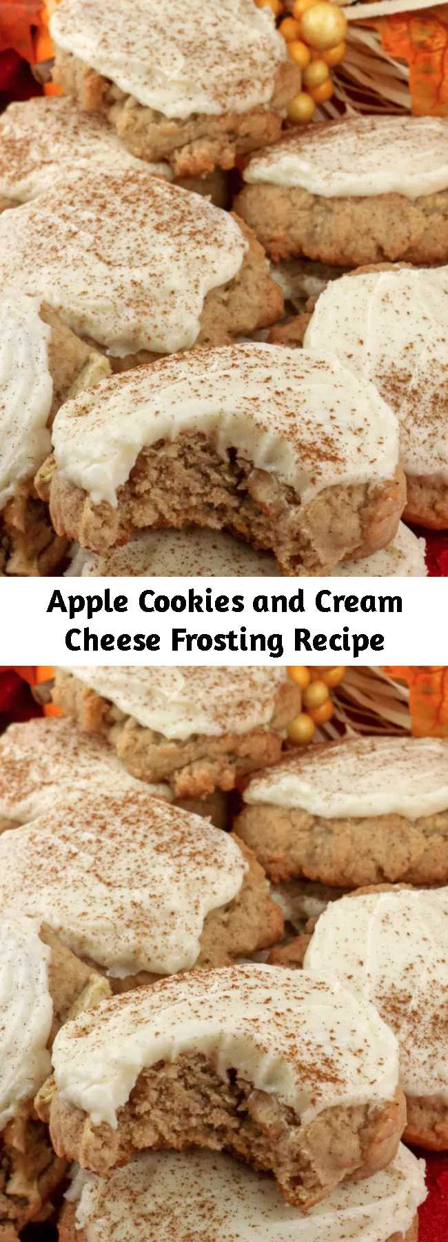Apple Cookies and Cream Cheese Frosting Recipe - Apples and cinnamon combine in light, fluffy and delicious Apple Cookies with Cream Cheese Frosting that is a true family favorite.