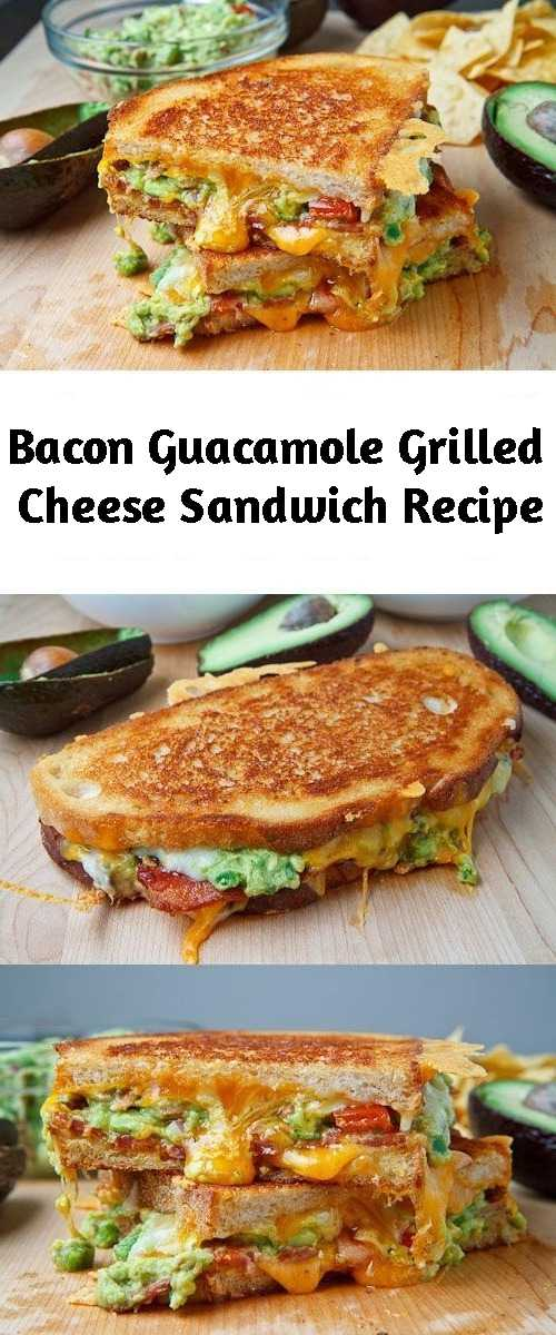 Bacon Guacamole Grilled Cheese Sandwich Recipe - A buttery and toasty grilled cheese sandwich stuffed with cool and creamy guacamole, crispy bacon and melted jack and cheddar cheese. The crunchy crumbled tortilla chips in this grilled cheese pay tribute to the classic combination of tortilla chips and guacamole dip.