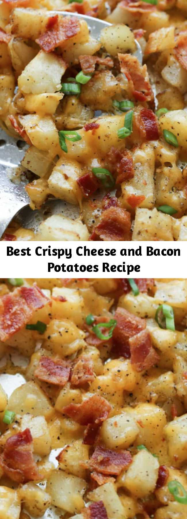 Best Crispy Cheese and Bacon Potatoes Recipe - Crispy roasted potatoes, topped with melting cheese and plenty of crisp bacon are a great side dish (or main dish!) for any meal. These really are the best ever Cheesy Potatoes! I've served them with eggs for breakfast and with herb roasted chicken for dinner.