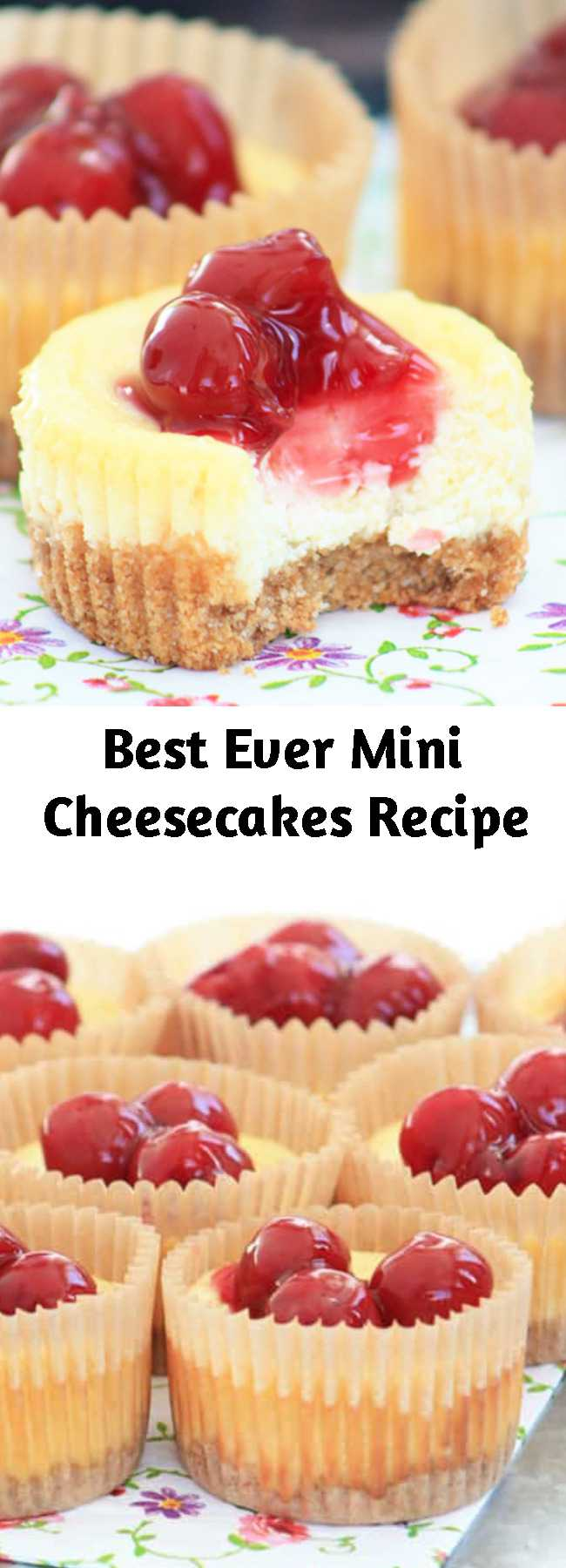 Best Ever Mini Cheesecakes Recipe - A mini cheesecake recipe using graham cracker crumbs, cream cheese, and cherry pie filling. My kids beg me to make these again and again!