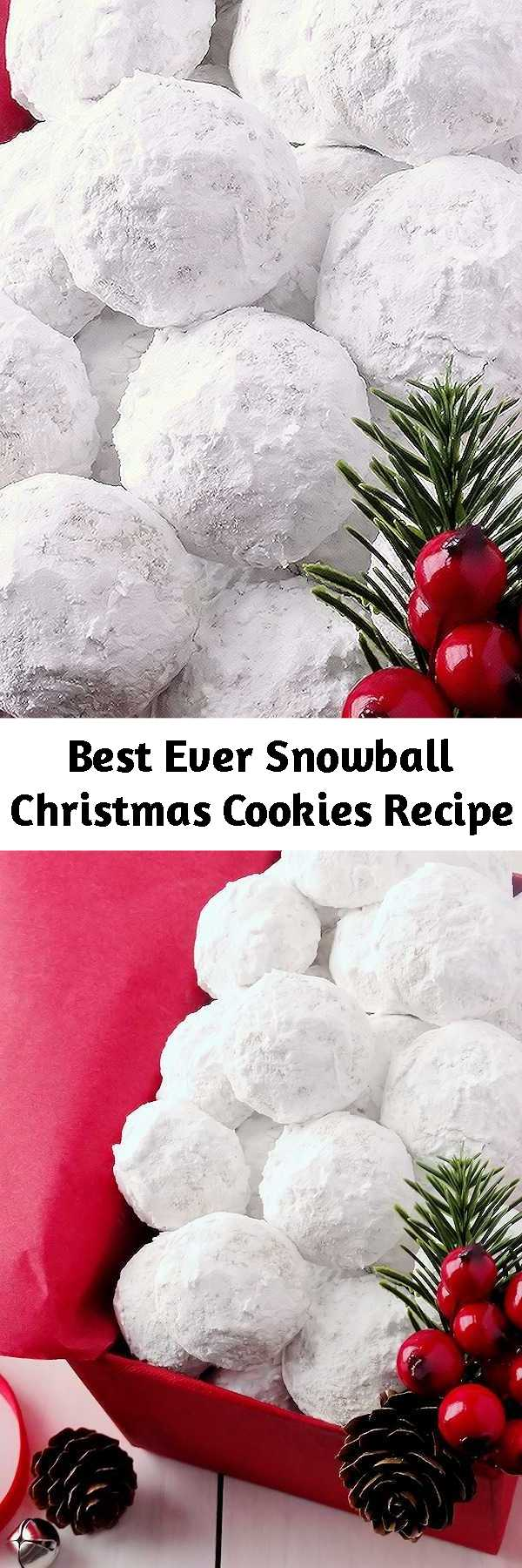Best Ever Snowball Christmas Cookies Recipe - Simply the best! Buttery, never dry, with plenty of walnuts for a scrumptious melt-in-your-mouth shortbread cookie (also known as Russian Teacakes or Mexican Wedding Cookies). Everyone will LOVE these classic Christmas cookies!