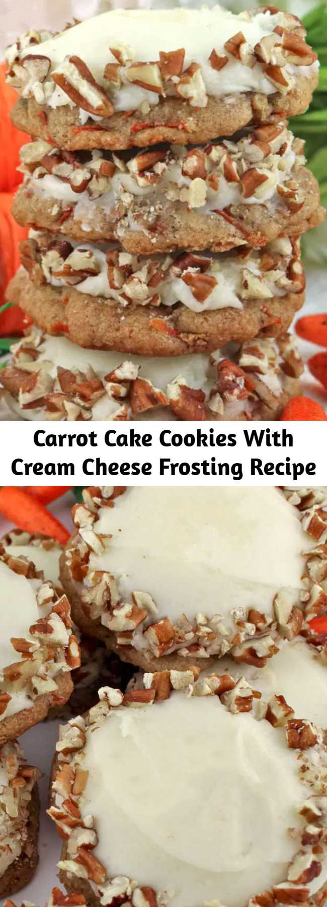 Carrot Cake Cookies With Cream Cheese Frosting Recipe - Our Carrot Cake Cookies with Cream Cheese Frosting feature a light, and fluffy cookie chocked full of carrots and cinnamon and topped with delicious cream cheese frosting.