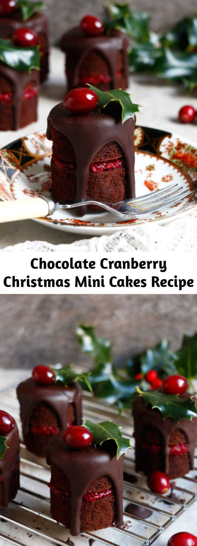 Chocolate Cranberry Christmas Mini Cakes Recipe - Chocolate Cranberry Christmas Mini Cakes Recipe. Vegan, gluten-free and nut-free wholesome chocolate mini cakes filled with quick cranberry chia jam.