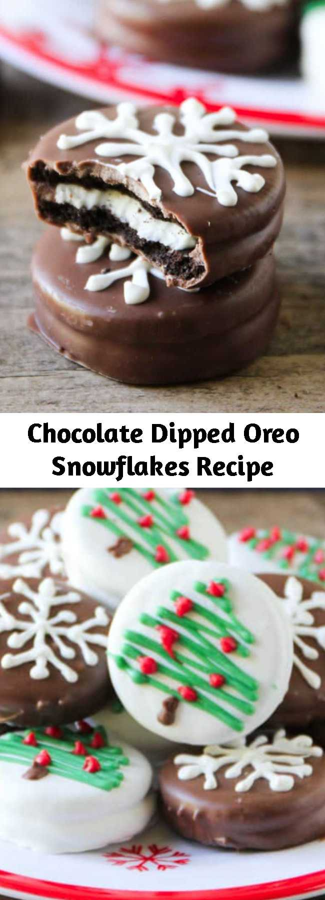 Chocolate Dipped Oreo Snowflakes Recipe - These chocolate dipped Oreo snowflakes are adorable and easy treats the whole family can help make! Only takes 2 ingredients to make.