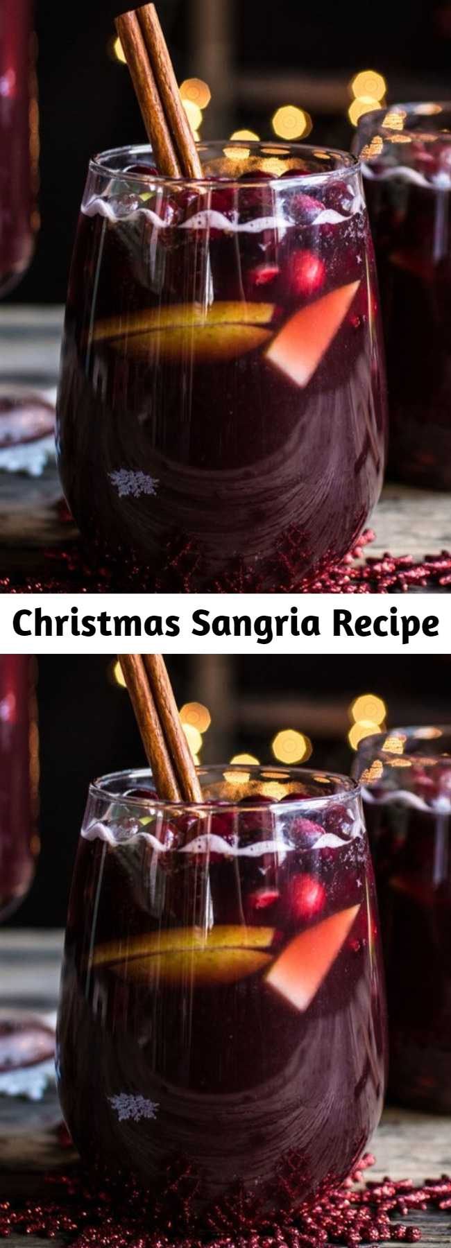Easy Christmas Sangria Recipe - No holiday party is complete without a festive drink, and this wintry sangria is just what your guests need to stay holly and jolly. Plus, it can be prepared ahead of time so you can focus on getting the rest of the party set up—now that's what we call a Christmas miracle! It's easy and festive!