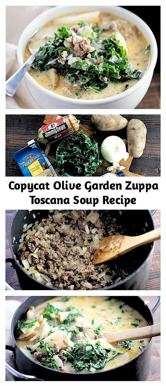 Copycat Olive Garden Zuppa Toscana Soup Recipe - Skip the trip to the restaurant and stay in tonight with a bowl of this hearty sausage-filled soup! This creamy and hearty soup makes the perfect dinner or make as a side for an Italian feast! It tastes just like the Olive Garden™ soup you're craving.