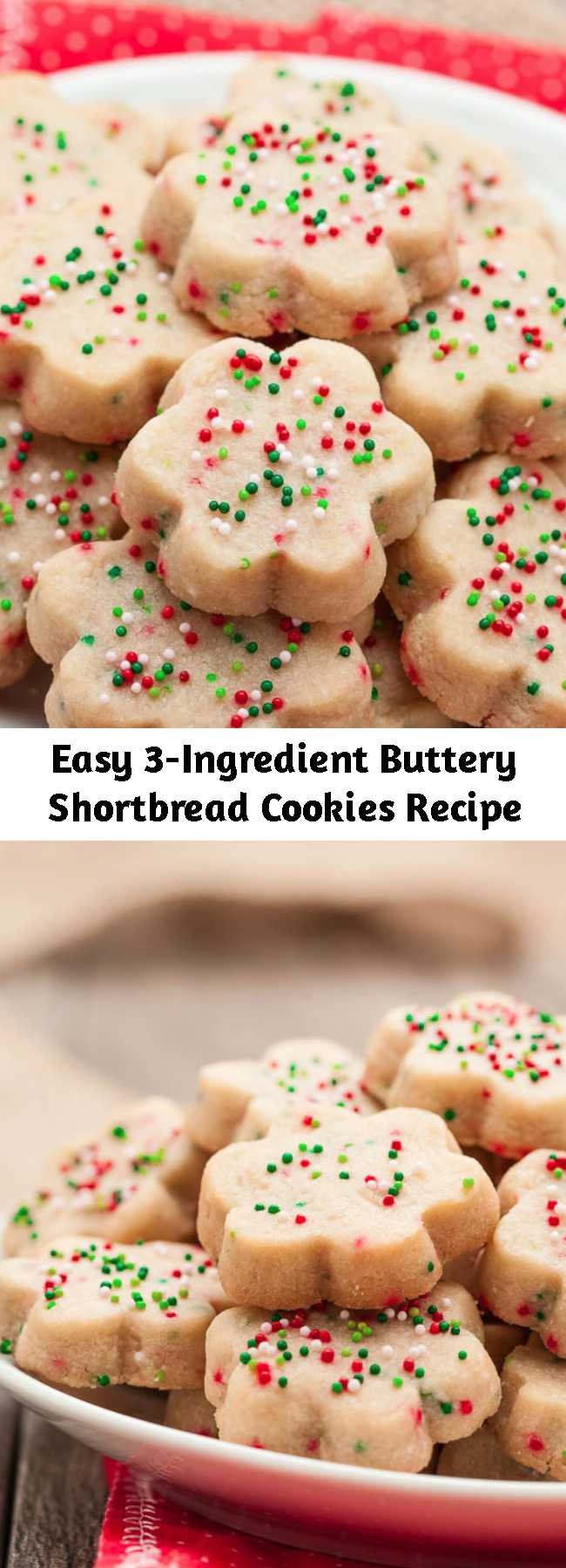 Easy 3-Ingredient Buttery Shortbread Cookies Recipe - These buttery shortbread cookies are simply divine. They are melt-in-your-mouth amazing, bursting with the goodness of butter, and easily dressed up or down. Make them, gift them, freeze them.