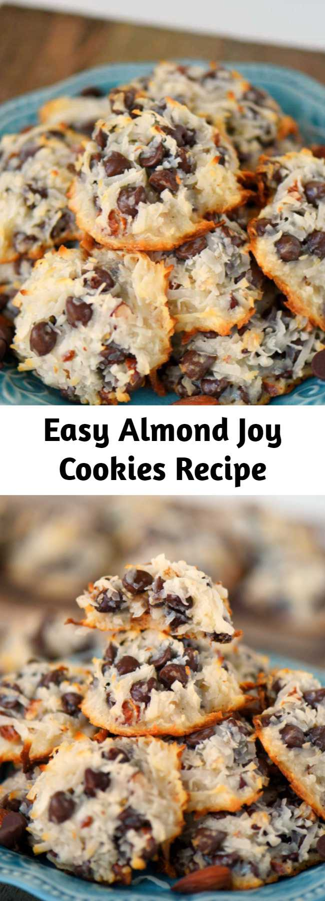 Easy Almond Joy Cookies Recipe - These easy Almond Joy Cookies take just four ingredients and don't even require a mixer! No beating, no chilling, just mix 'em up and throw 'em in the oven EASY! You're going to love these ooey gooey fabulous cookies!