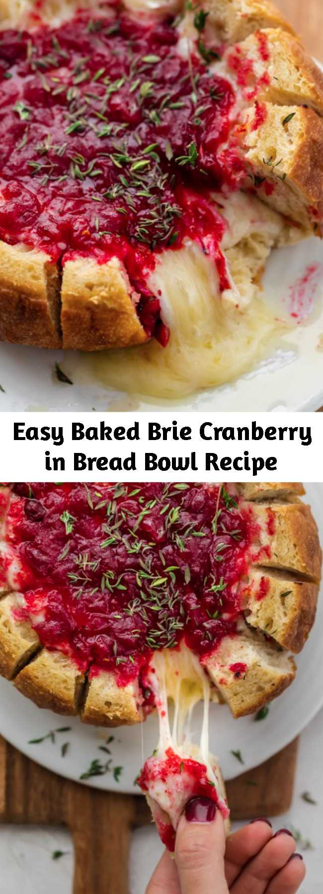 Easy Baked Brie Cranberry in Bread Bowl Recipe - For your Thanksgiving, Christmas and any holiday parties, try this elegant easy 3 ingredient baked brie cranberry, served in a pull-apart bread bowl for dipping! This crowd pleasing festive appetizer is perfect for entertaining and so easy to make! #Thanksgiving #Christmas