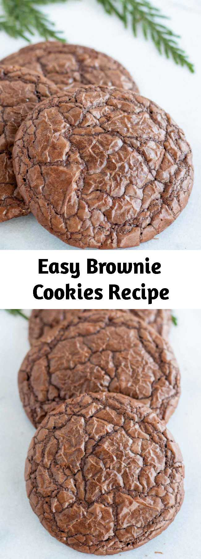 Easy Brownie Cookies Recipe - The best of both worlds! These brownie cookies are your favourite chewy, chocolatey brownies in cookie form!