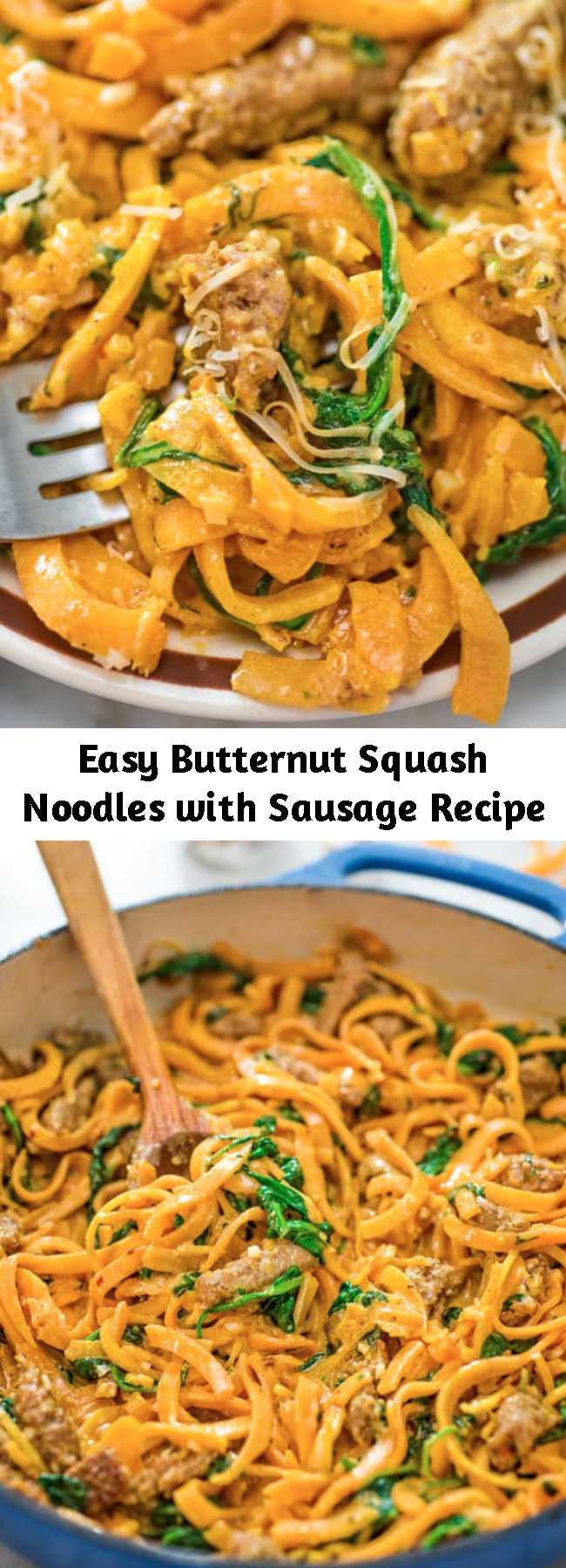 Easy Butternut Squash Noodles with Sausage Recipe - You are going to fall in love with these Butternut Squash Noodles with Sausage! Made with Italian sausage, spinach, spiralized butternut squash, garlic, cream, and Parmesan cheese, this dish is just bursting with flavors! #spiralizer #spiralized #butternutsquash #spiralizerrecipes #dinner #lunch #recipeoftheday #videorecipe #winter