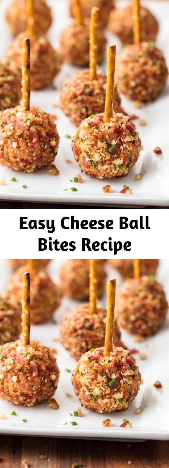 Easy Cheese Ball Bites Recipe - These Cheese Ball Bites are the easy, no-stress, Thanksgiving, Christmas, holiday appetizer that everyone will be talking about for YEARS. #thanksgiving #christmas #holidays #superbowl #appetizers #nobake #cheese #cheeseball #bites #bacon #creamcheese #pretzels #mini #easy #recipe #fingerfoods #snacks #mini #keto