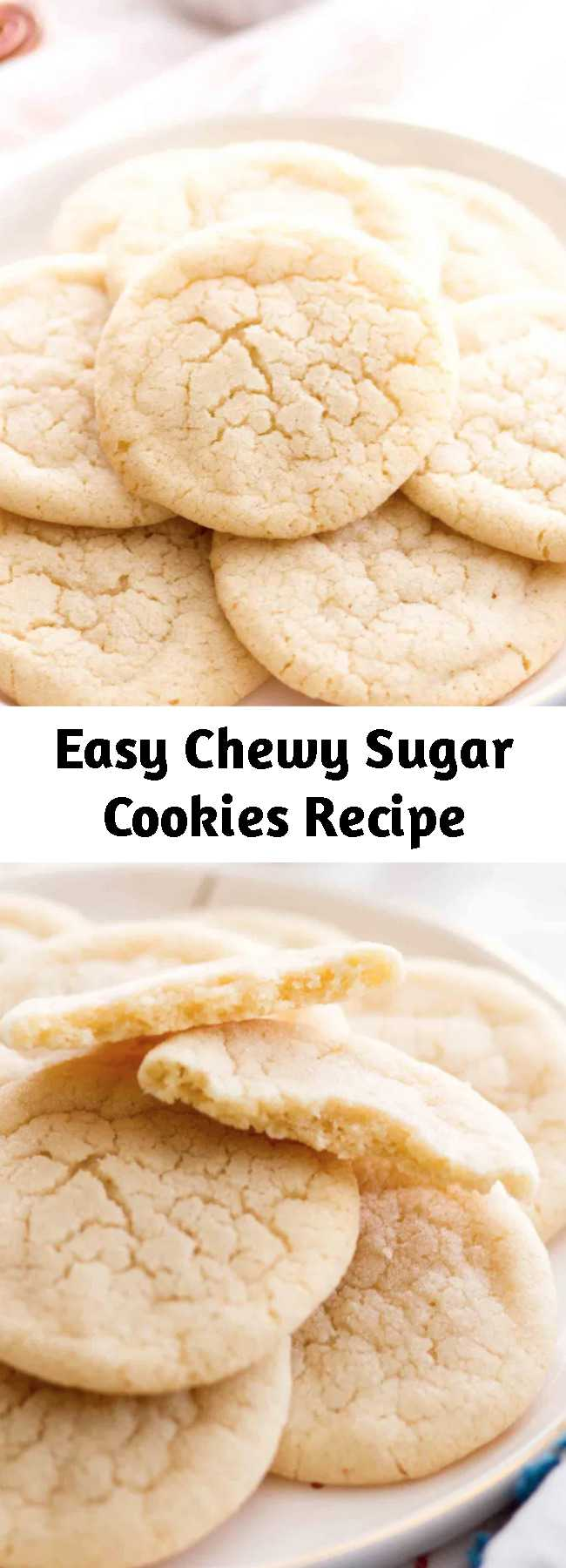Easy Chewy Sugar Cookies Recipe - These soft and chewy sugar cookies are a Christmas cookie staple, because this is a no chill sugar cookie recipe! The centers are soft and the edges are chewy, making this one of my favorite sugar cookie recipes of all time!