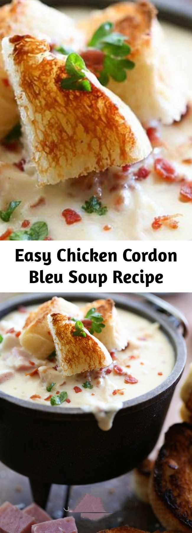Easy Chicken Cordon Bleu Soup Recipe - Oh. My. Gosh. This is seriously the best soup ever! This recipe is PERFECT for the cooling temperatures and will make the perfect comfort you this fall and winter season! Everyone who tried this gave it rave reviews!