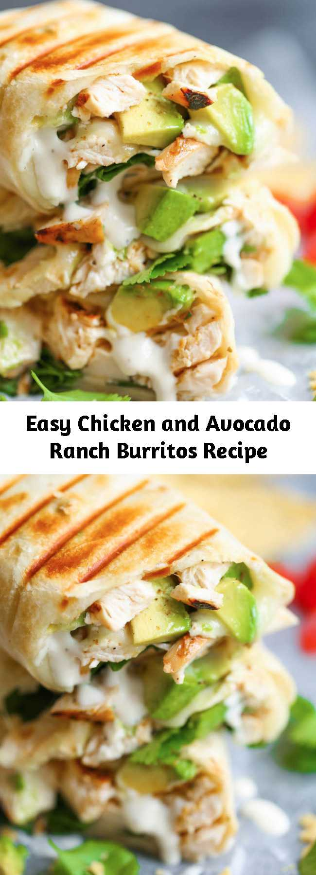 Easy Chicken and Avocado Ranch Burritos Recipe - These come together with just 15 min prep! You can also make this ahead of time and bake right before serving. SO EASY!