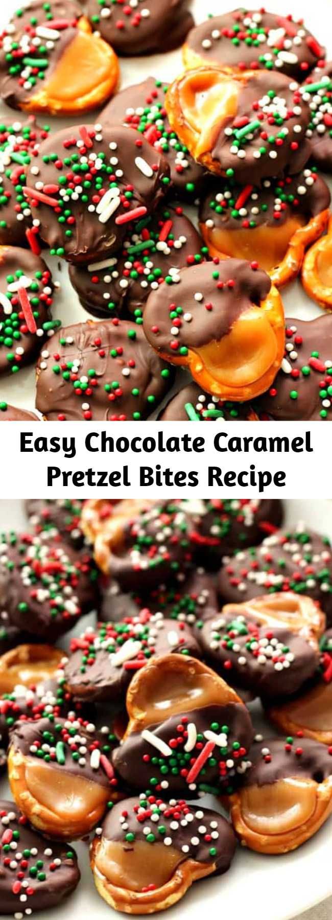 Easy Chocolate Caramel Pretzel Bites Recipe - Super easy candy idea for the holidays! Great gift for chocolate and caramel lovers!