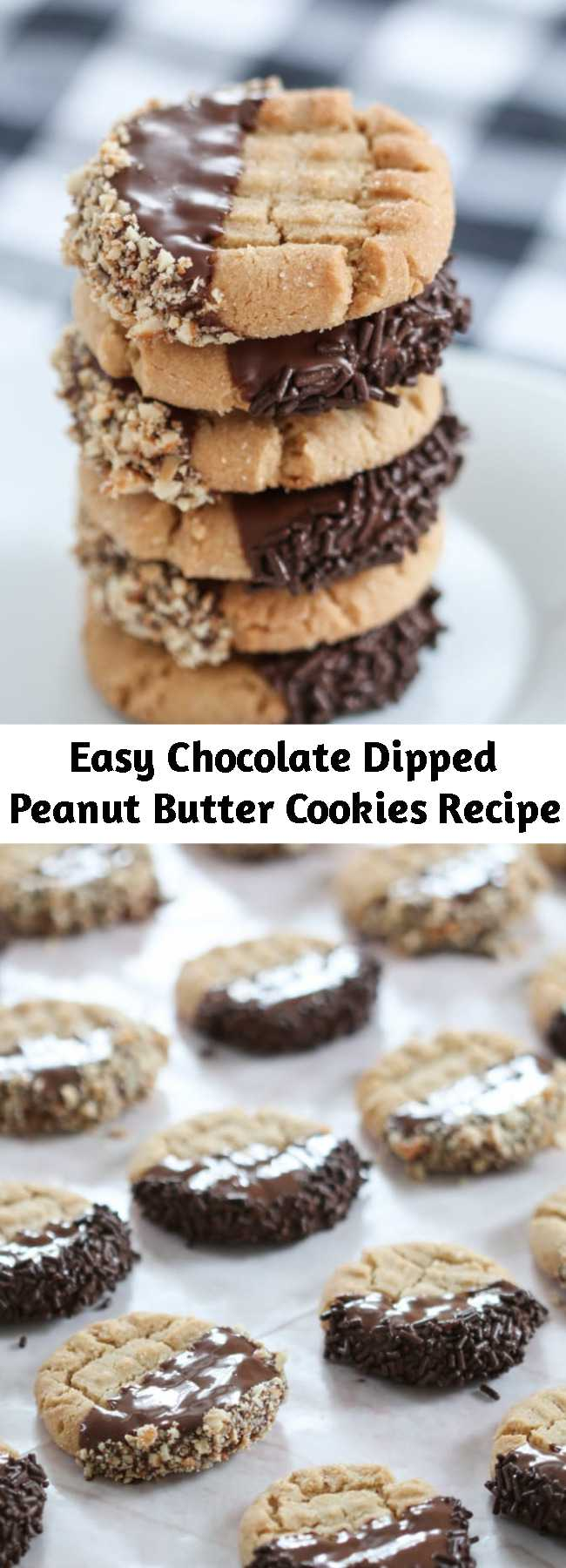 Easy Chocolate Dipped Peanut Butter Cookies Recipe - I'm convinced that you can dip anything in chocolate and instantly make it taste more delicious and look expertly styled and totally fancy. Don't believe me? Feel free to prove me wrong. And while it might take a bit more time, it's really not hard to do.