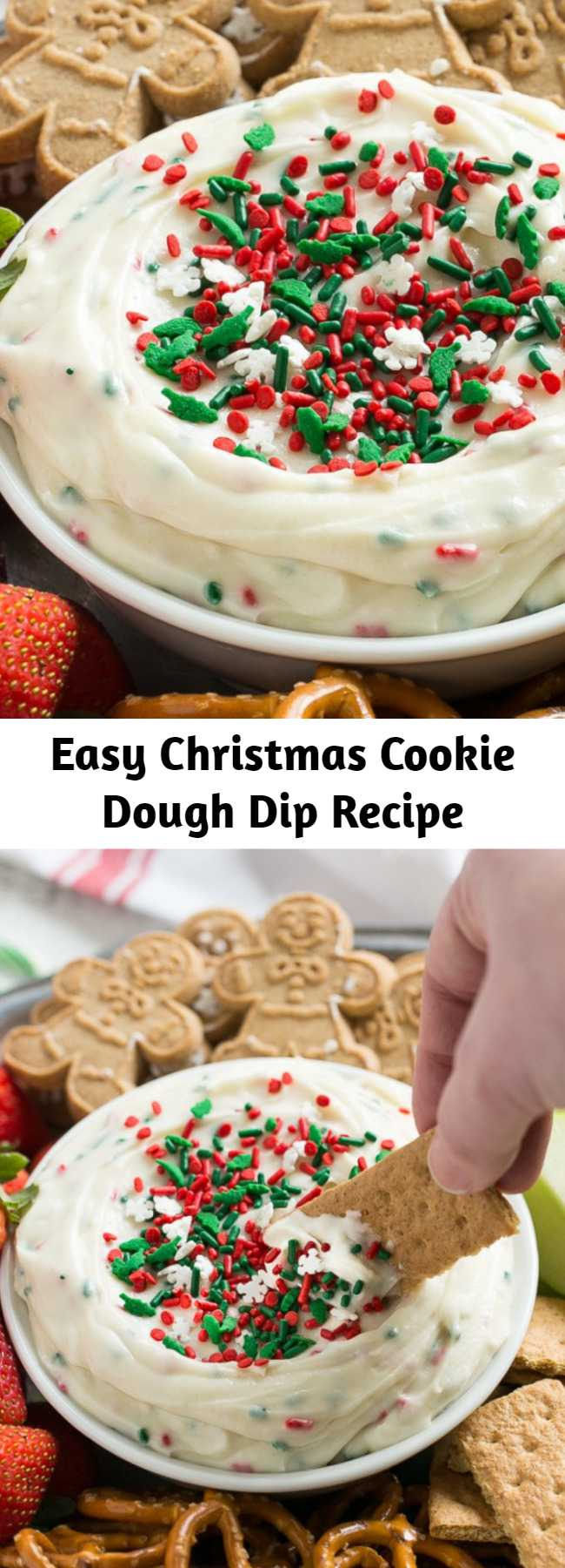 Easy Christmas Cookie Dough Dip Recipe - Looking for an easy and unique offering for your next holiday party? This cookie dough dip is sure to be a huge hit! This recipe for cookie dough dip has a fluffy and creamy base of eggless Christmas cookie dough that's swirled with plenty of holiday sprinkles and served with fruit and cookies for dipping. It only takes 5 minutes to make!
