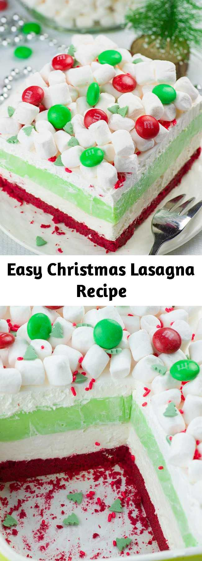 Easy Christmas Lasagna Recipe - Christmas Lasagna is a whimsical layered dessert recipe! Made with buttery, red velvet shortbread cookie crust, a peppermint cheesecake layer, white chocolate pudding, whipped cream and mini marshmallows on top. I'm sure it will be a hit at your Christmas gathering. #christmasdesserts #christmasrecipes #marshmallows