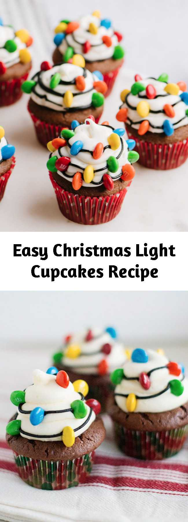 Easy Christmas Light Cupcakes Recipe - These Christmas Light Cupcakes are made with an embellished chocolate cake mix and the best vanilla buttercream frosting. They are adorable for Christmas and perfect for bake sales.