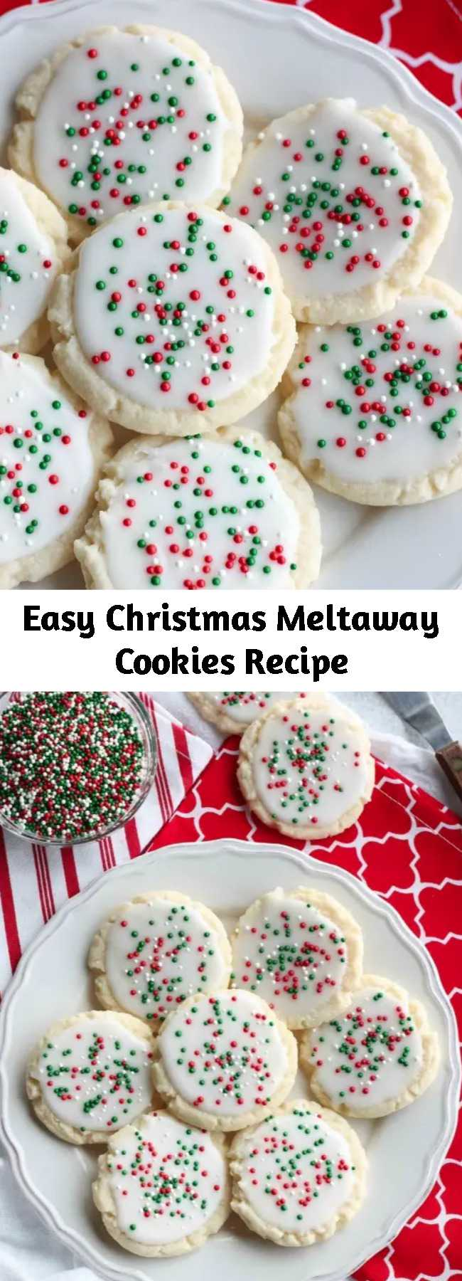 Easy Christmas Meltaway Cookies Recipe - Meltaway cookies are a soft, lightly sweet shortbread cookie that literally melts away in your mouth. Top it with a thin glaze and red and green sprinkles for a festive Christmas cookie treat. #christmascookies #cookieexchange