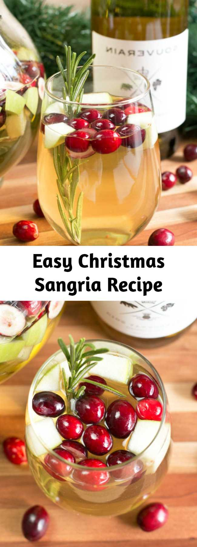 Easy Christmas Sangria Recipe - Rosemary, cranberries, and apple make this sangria the perfect Christmas drink that goes with any holiday meal!
