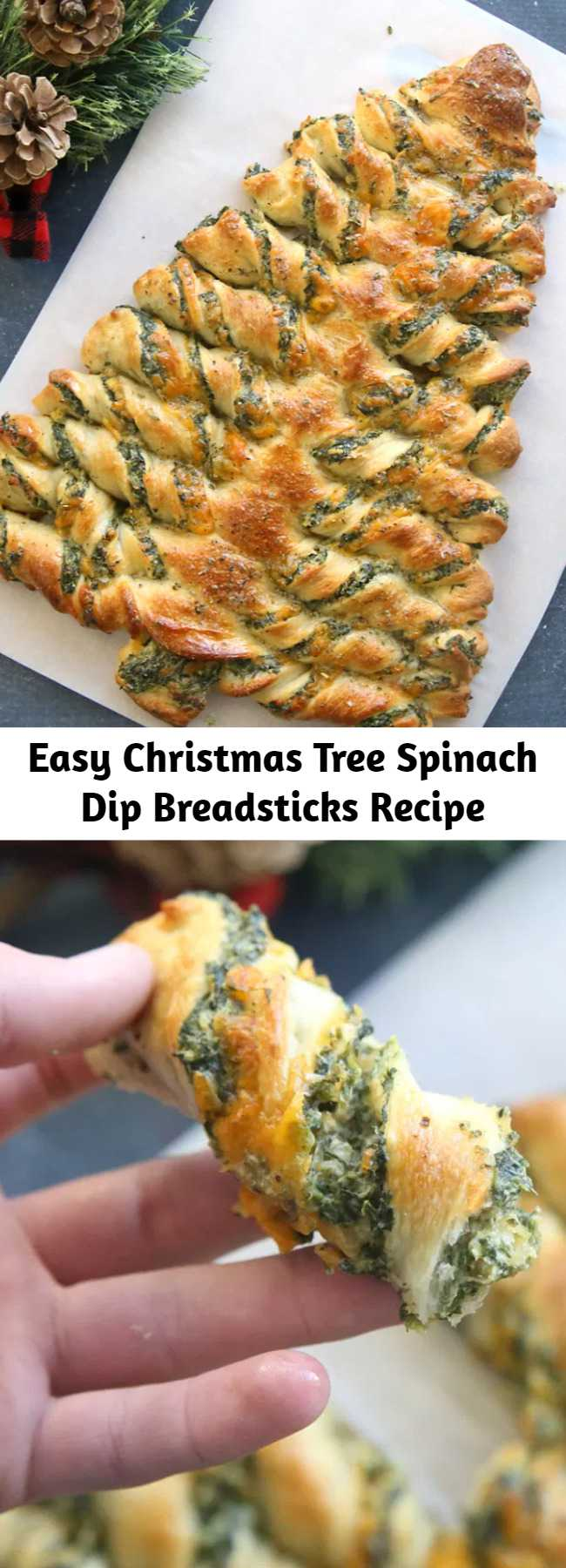Easy Christmas Tree Spinach Dip Breadsticks Recipe - These Christmas tree breadsticks are the perfect party appetizer for the holidays! They're filled with spinach dip and topped with garlic butter. It looks so pretty and tastes absolutely delicious.